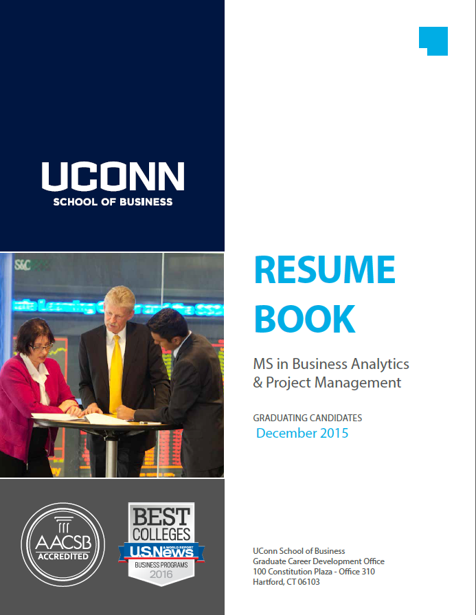 resume books ms in business analytics and project management