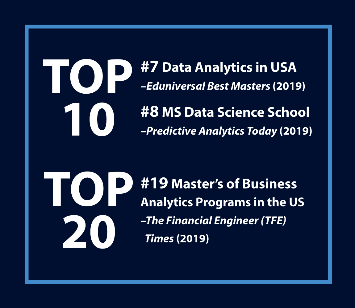 TOP 10: #7 Data Analytics in USA, Eduniversal Best Masters 2019; #8 MS Data Science School, Predictive Analytics Today 2019; TOP 20: #19 Master's of Business Analytics Programs in the US, TFE Times 2019